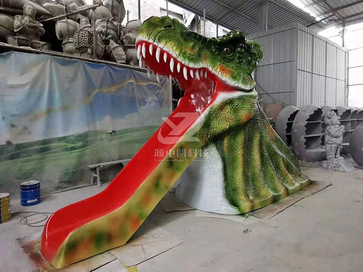 恐龙头滑梯,玻璃钢恐龙头滑梯